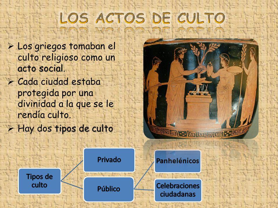 acto social Los griegos tomaban el culto religioso como un acto social. Cada ciudad estaba protegida por una divinidad a la que se le rendía culto. ti