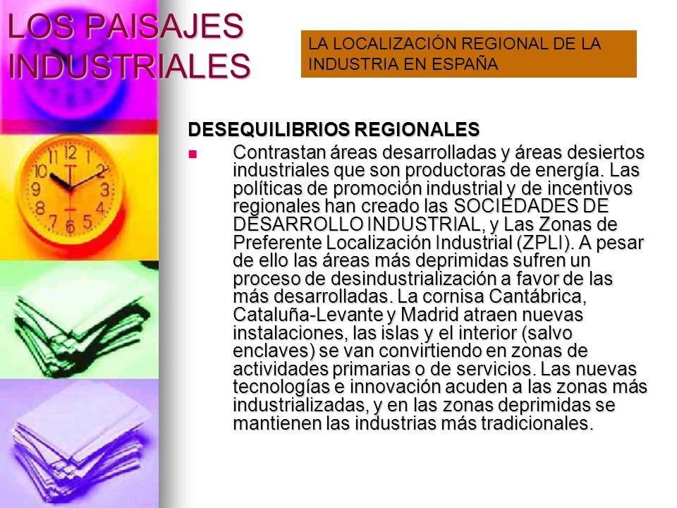 LOS PAISAJES INDUSTRIALES DESEQUILIBRIOS REGIONALES Contrastan áreas desarrolladas y áreas desiertos industriales que son productoras de energía. Las