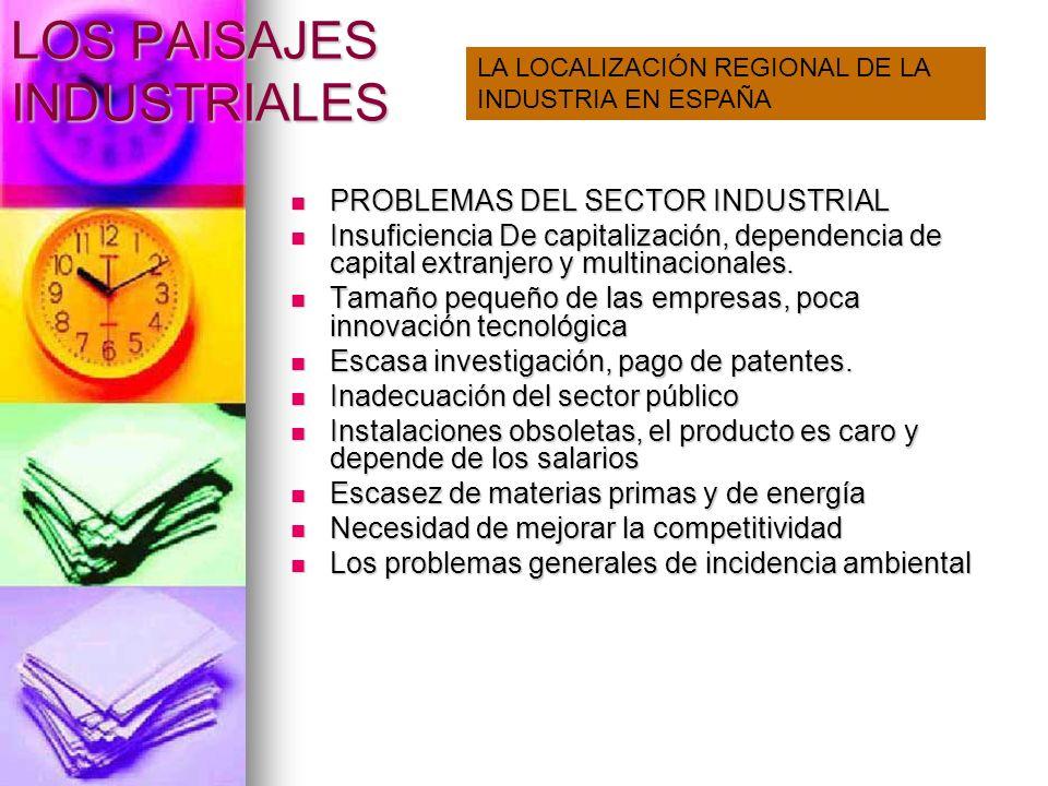 LOS PAISAJES INDUSTRIALES PROBLEMAS DEL SECTOR INDUSTRIAL PROBLEMAS DEL SECTOR INDUSTRIAL Insuficiencia De capitalización, dependencia de capital extr