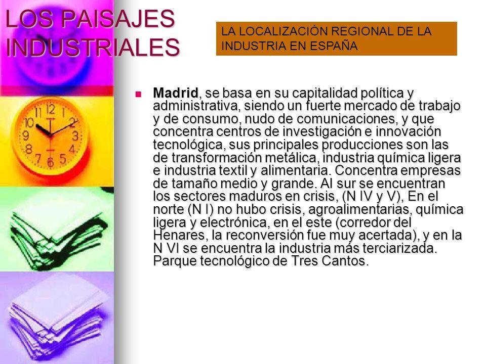 LOS PAISAJES INDUSTRIALES Cataluña concentra sus industria entorno a Barcelona con gran extensión prácticamente hasta Tarragona, donde se desarrolla la industria química, y hasta el Vallés donde se encuentra el parque tecnológico.