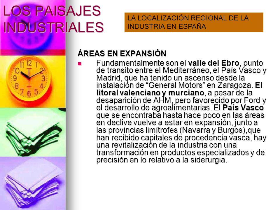 LOS PAISAJES INDUSTRIALES ÁREAS EN EXPANSIÓN Fundamentalmente son el valle del Ebro, punto de transito entre el Mediterráneo, el País Vasco y Madrid,