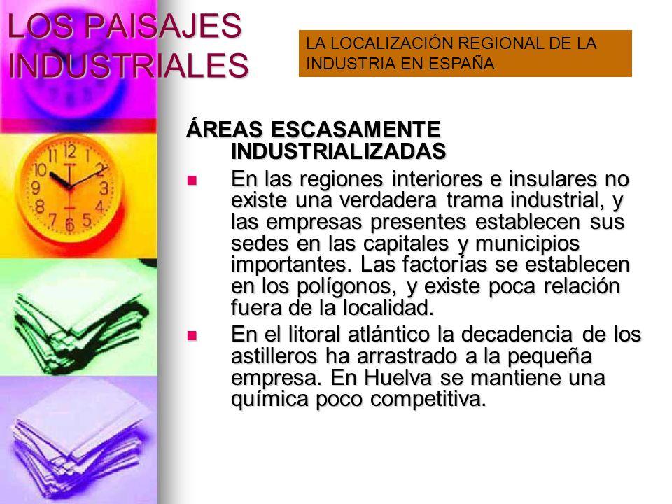 LOS PAISAJES INDUSTRIALES DESEQUILIBRIOS REGIONALES Contrastan áreas desarrolladas y áreas desiertos industriales que son productoras de energía.