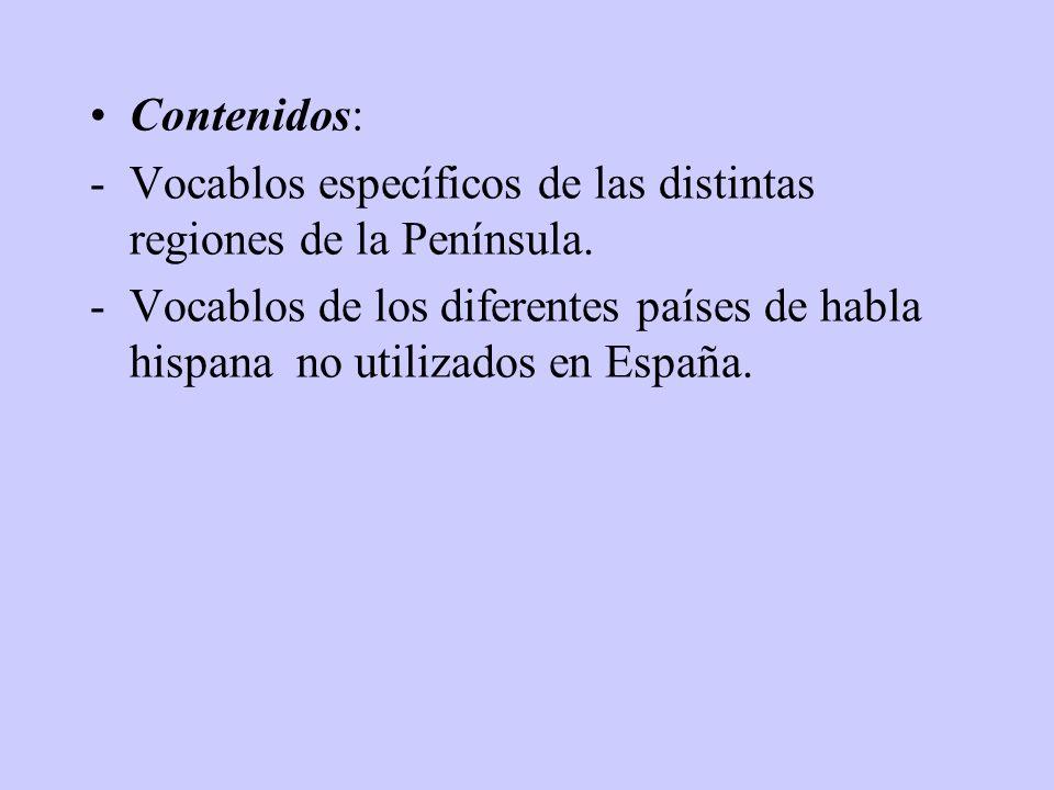 Objetivos: -Enriquecer el vocabulario de los alumnos. -Conocer la situación geográfica de las provincia de España y de los diferentes países de Hispan