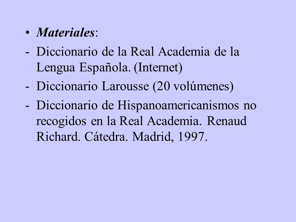 Contenidos: -Vocablos específicos de las distintas regiones de la Península. -Vocablos de los diferentes países de habla hispana no utilizados en Espa