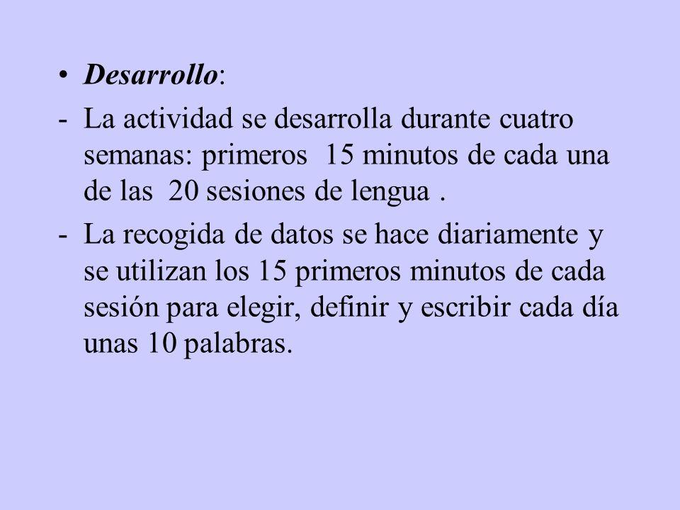 Materiales: -Diccionario de la Real Academia de la Lengua Española. (Internet) -Diccionario Larousse (20 volúmenes) -Diccionario de Hispanoamericanism
