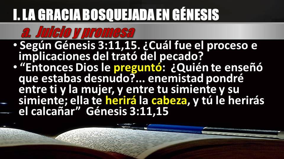 I. LA GRACIA BOSQUEJADA EN GÉNESIS Según Génesis 3:11,15. ¿Cuál fue el proceso e implicaciones del trató del pecado? Entonces Dios le preguntó: ¿Quién