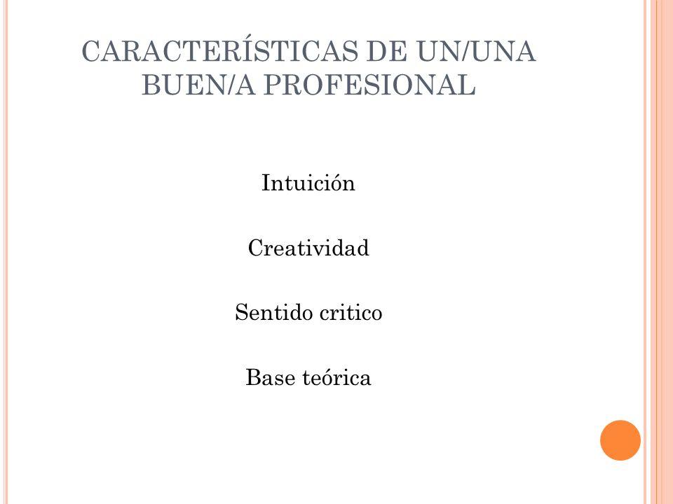 CARACTERÍSTICAS DE UN/UNA BUEN/A PROFESIONAL Intuición Creatividad Sentido critico Base teórica