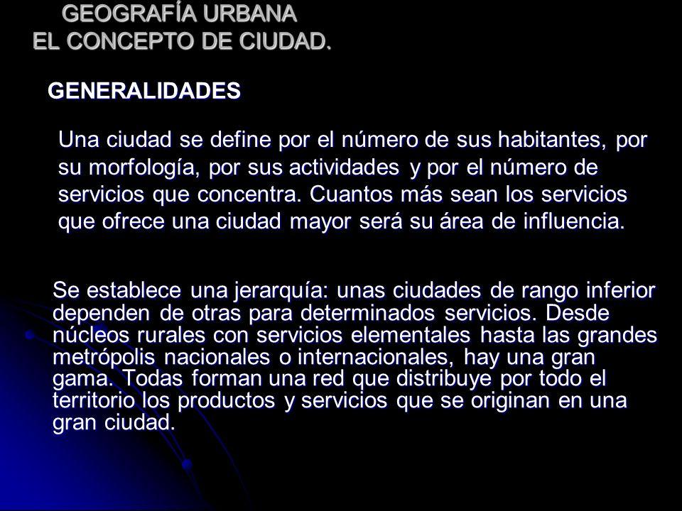 GEOGRAFÍA URBANA EL CONCEPTO DE CIUDAD.