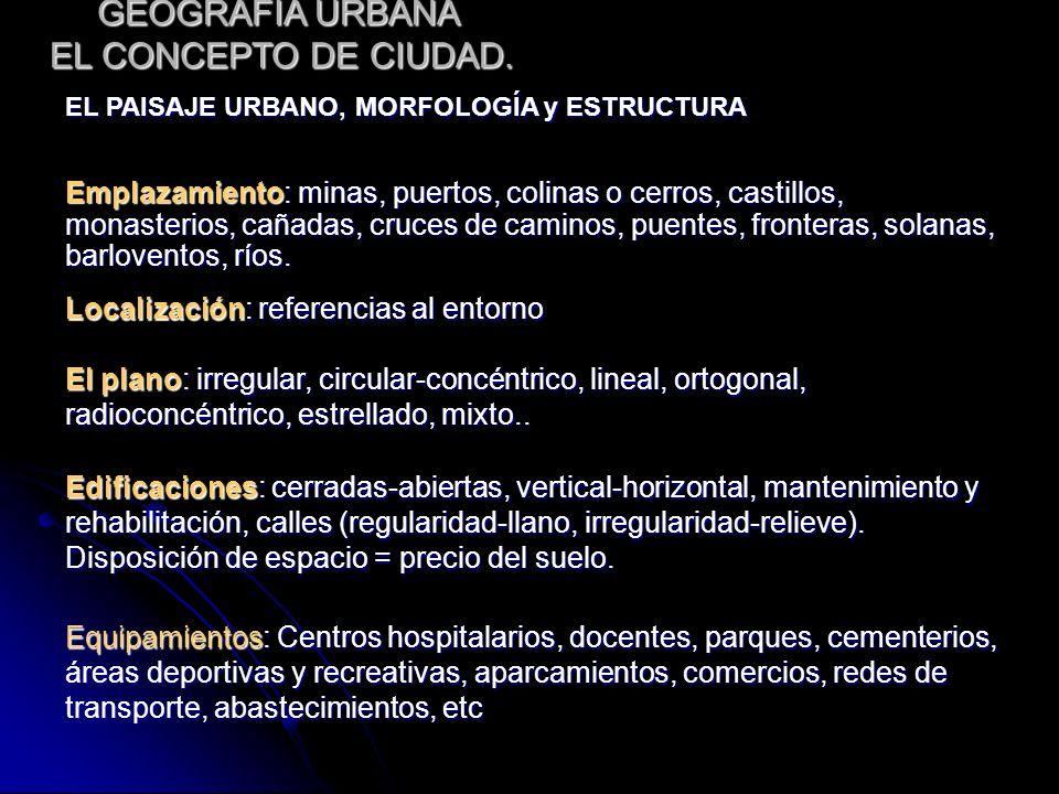 GEOGRAFÍA URBANA EL CONCEPTO DE CIUDAD. EL PAISAJE URBANO, MORFOLOGÍA y ESTRUCTURA Emplazamiento: minas, puertos, colinas o cerros, castillos, monaste