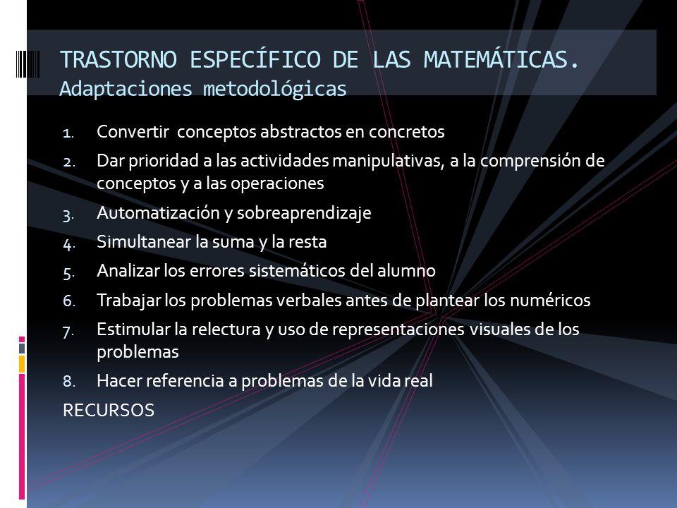 1. Convertir conceptos abstractos en concretos 2. Dar prioridad a las actividades manipulativas, a la comprensión de conceptos y a las operaciones 3.