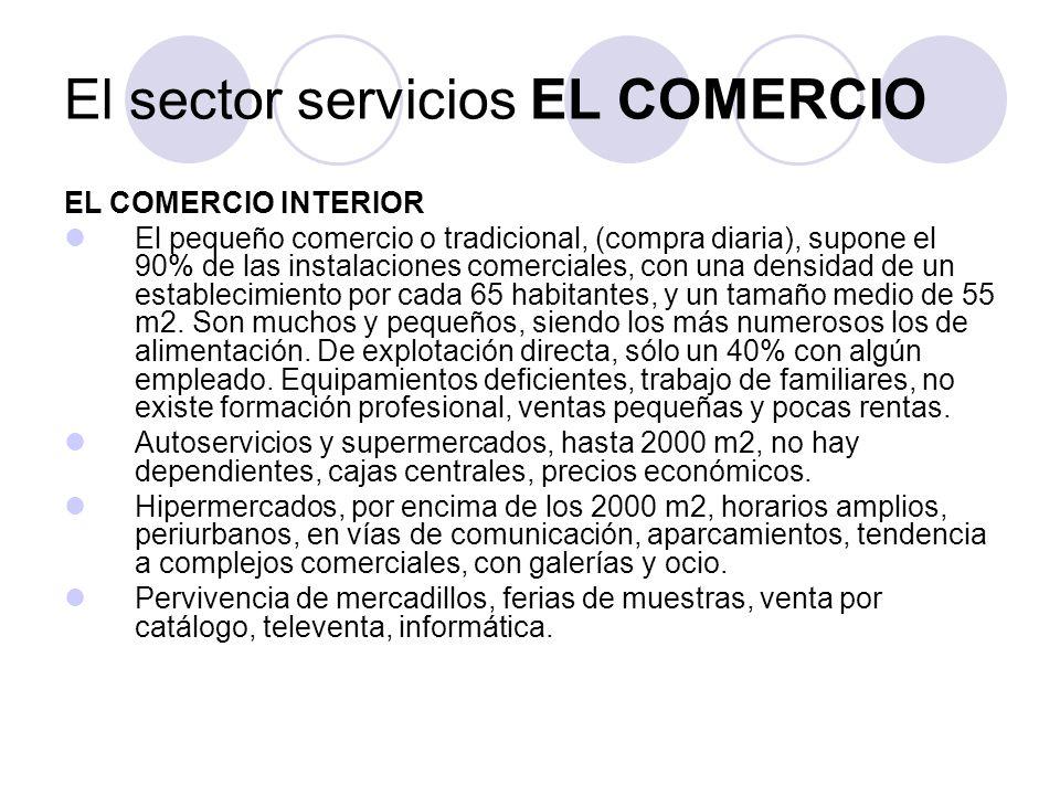 EL COMERCIO INTERIOR El pequeño comercio o tradicional, (compra diaria), supone el 90% de las instalaciones comerciales, con una densidad de un establecimiento por cada 65 habitantes, y un tamaño medio de 55 m2.