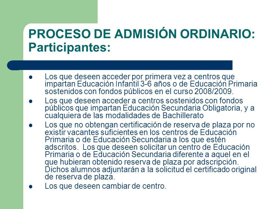 PROCESO DE ADMISIÓN ORDINARIO: Participantes: Los que deseen acceder por primera vez a centros que impartan Educación Infantil 3-6 años o de Educación