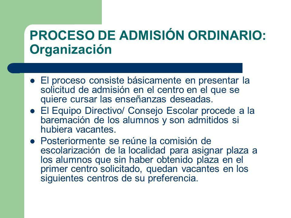 PROCESO DE ADMISIÓN ORDINARIO: Organización El proceso consiste básicamente en presentar la solicitud de admisión en el centro en el que se quiere cur