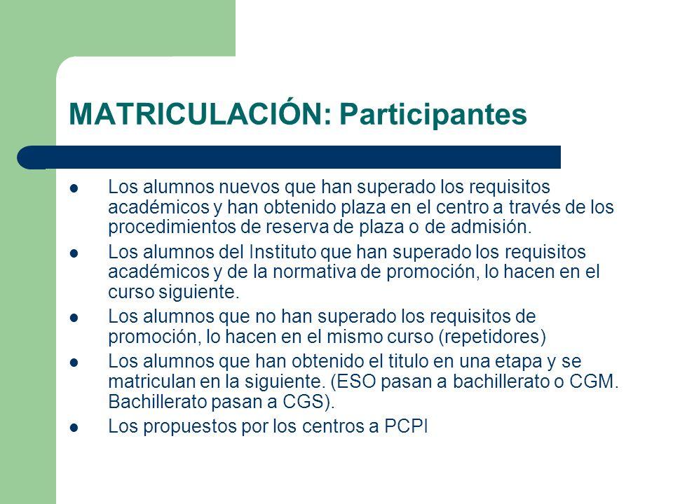 MATRICULACIÓN: Participantes Los alumnos nuevos que han superado los requisitos académicos y han obtenido plaza en el centro a través de los procedimi