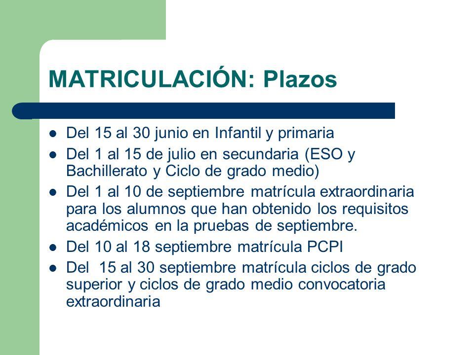 MATRICULACIÓN: Plazos Del 15 al 30 junio en Infantil y primaria Del 1 al 15 de julio en secundaria (ESO y Bachillerato y Ciclo de grado medio) Del 1 a