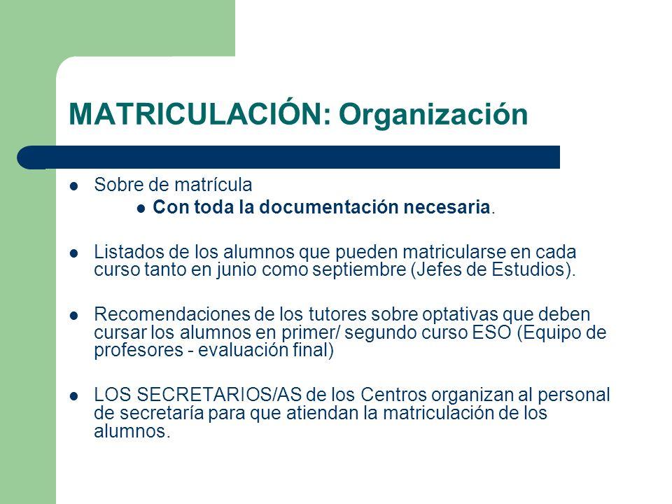 MATRICULACIÓN: Organización Sobre de matrícula Con toda la documentación necesaria. Listados de los alumnos que pueden matricularse en cada curso tant