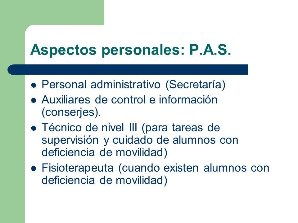 Aspectos personales: P.A.S. Personal administrativo (Secretaría) Auxiliares de control e información (conserjes). Técnico de nivel III (para tareas de