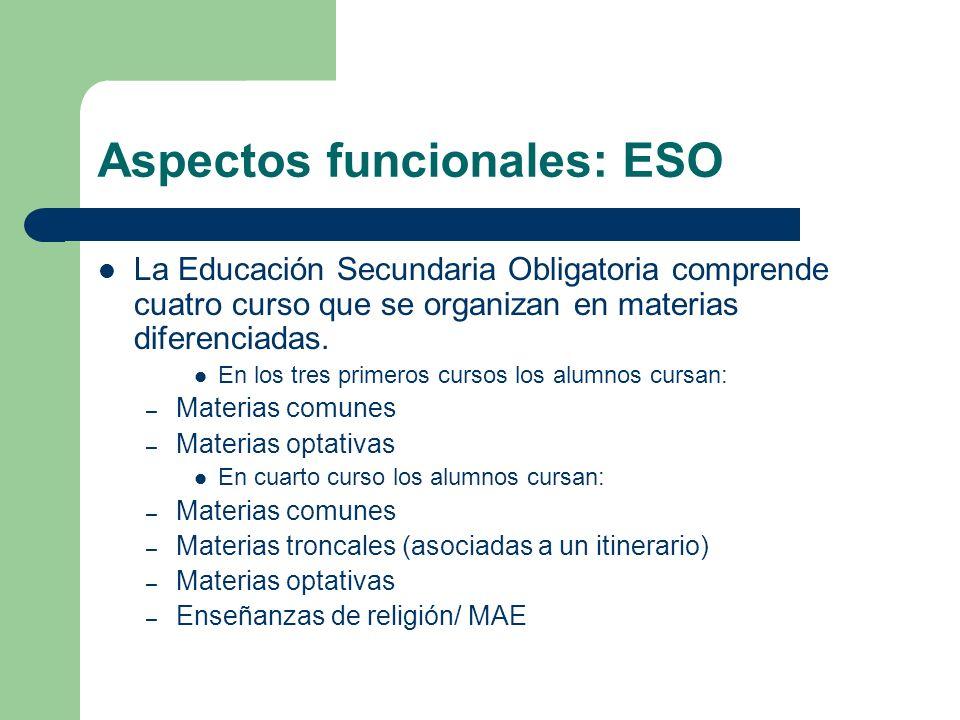 Aspectos funcionales: ESO La Educación Secundaria Obligatoria comprende cuatro curso que se organizan en materias diferenciadas. En los tres primeros