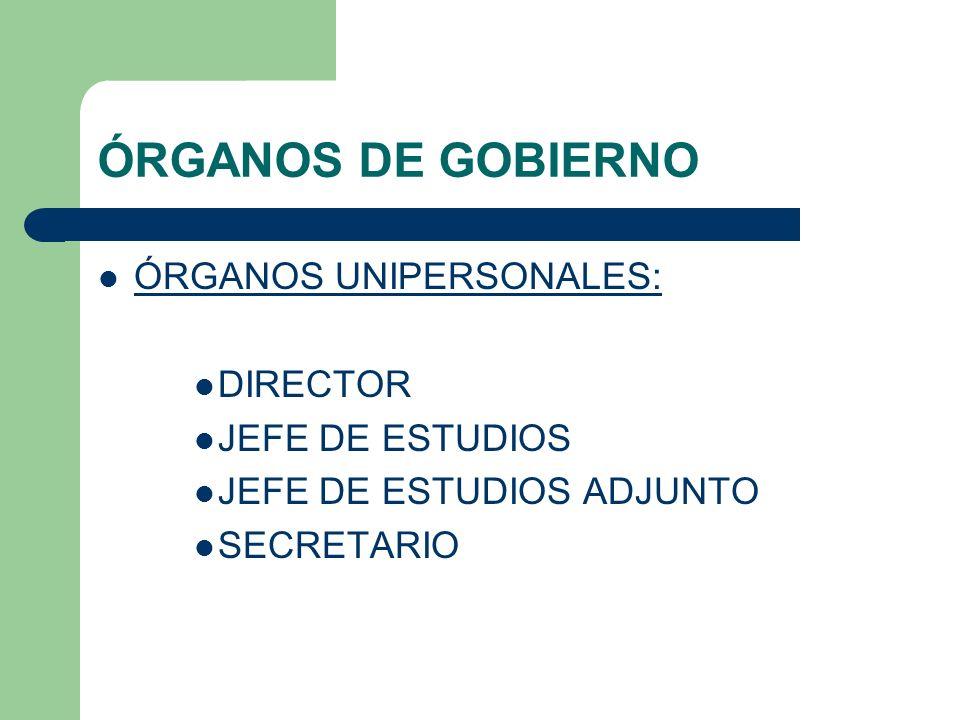 ÓRGANOS DE GOBIERNO ÓRGANOS UNIPERSONALES: DIRECTOR JEFE DE ESTUDIOS JEFE DE ESTUDIOS ADJUNTO SECRETARIO