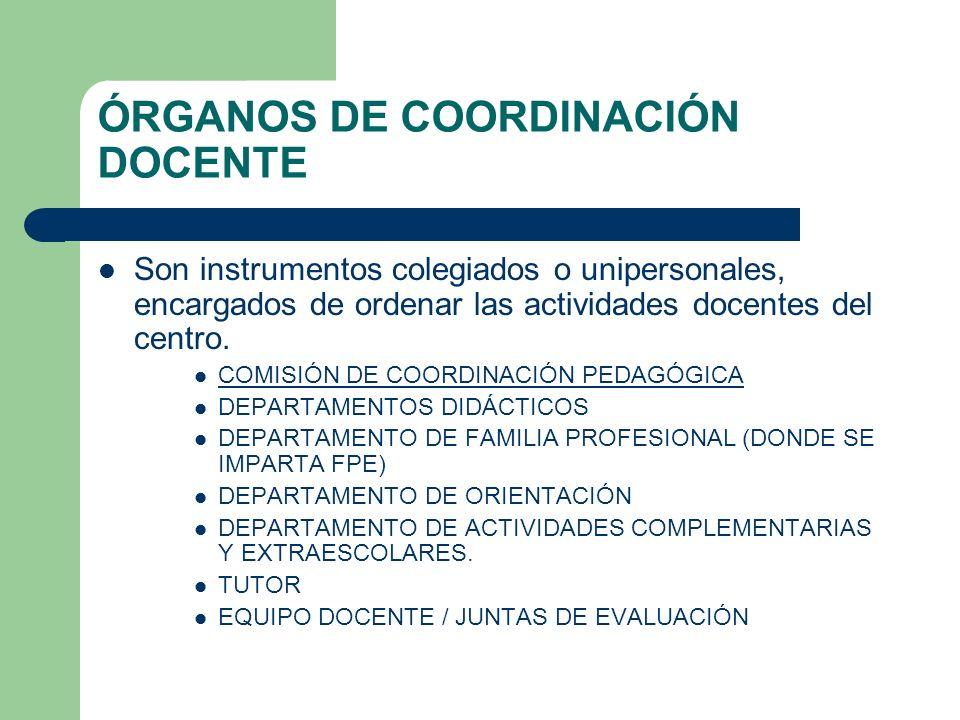ÓRGANOS DE COORDINACIÓN DOCENTE Son instrumentos colegiados o unipersonales, encargados de ordenar las actividades docentes del centro. COMISIÓN DE CO