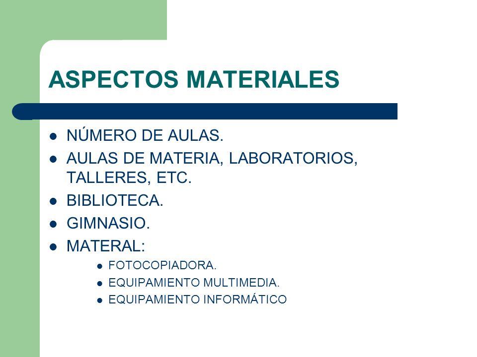 ASPECTOS MATERIALES NÚMERO DE AULAS. AULAS DE MATERIA, LABORATORIOS, TALLERES, ETC. BIBLIOTECA. GIMNASIO. MATERAL: FOTOCOPIADORA. EQUIPAMIENTO MULTIME