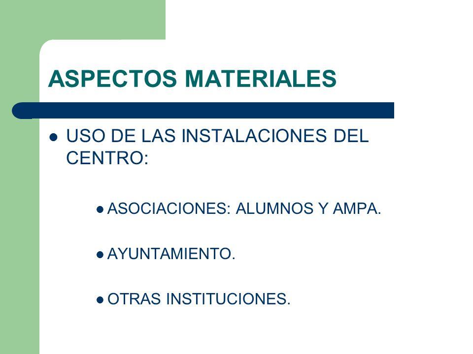 ASPECTOS MATERIALES USO DE LAS INSTALACIONES DEL CENTRO: ASOCIACIONES: ALUMNOS Y AMPA. AYUNTAMIENTO. OTRAS INSTITUCIONES.