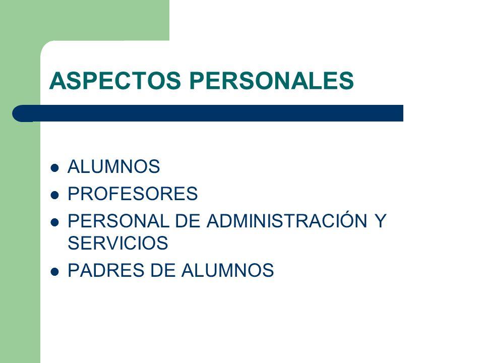 ASPECTOS PERSONALES ALUMNOS PROFESORES PERSONAL DE ADMINISTRACIÓN Y SERVICIOS PADRES DE ALUMNOS