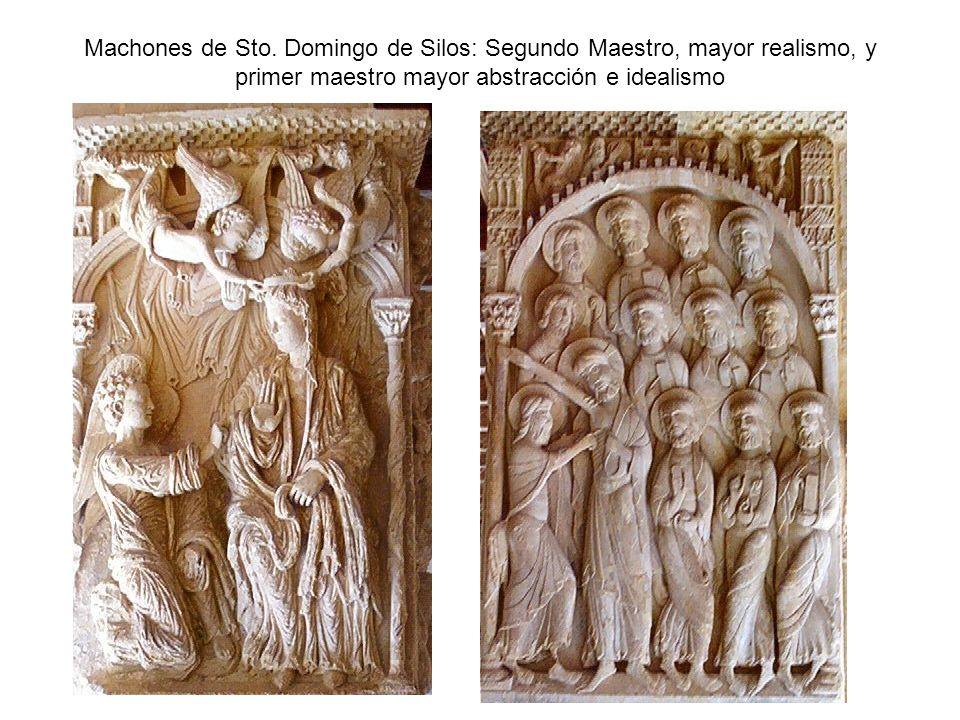 Machones de Sto. Domingo de Silos: Segundo Maestro, mayor realismo, y primer maestro mayor abstracción e idealismo