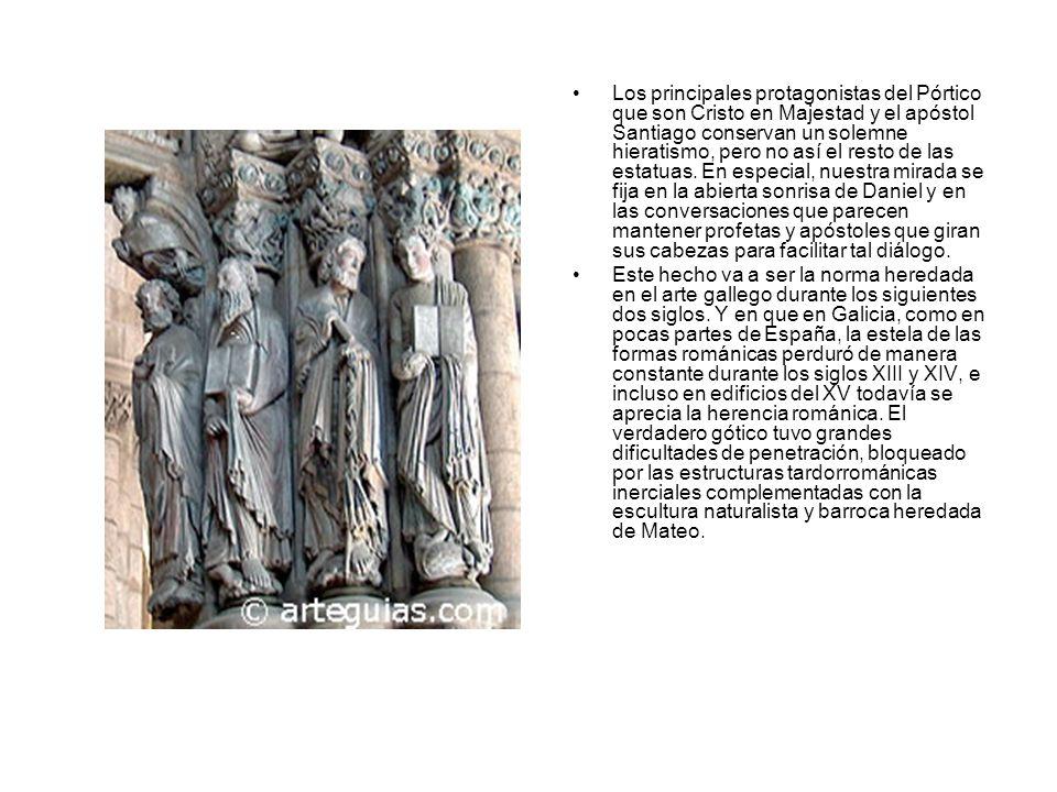 Los principales protagonistas del Pórtico que son Cristo en Majestad y el apóstol Santiago conservan un solemne hieratismo, pero no así el resto de la