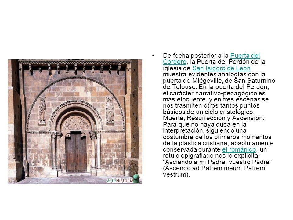 De fecha posterior a la Puerta del Cordero, la Puerta del Perdón de la iglesia de San Isidoro de León muestra evidentes analogías con la puerta de Mié