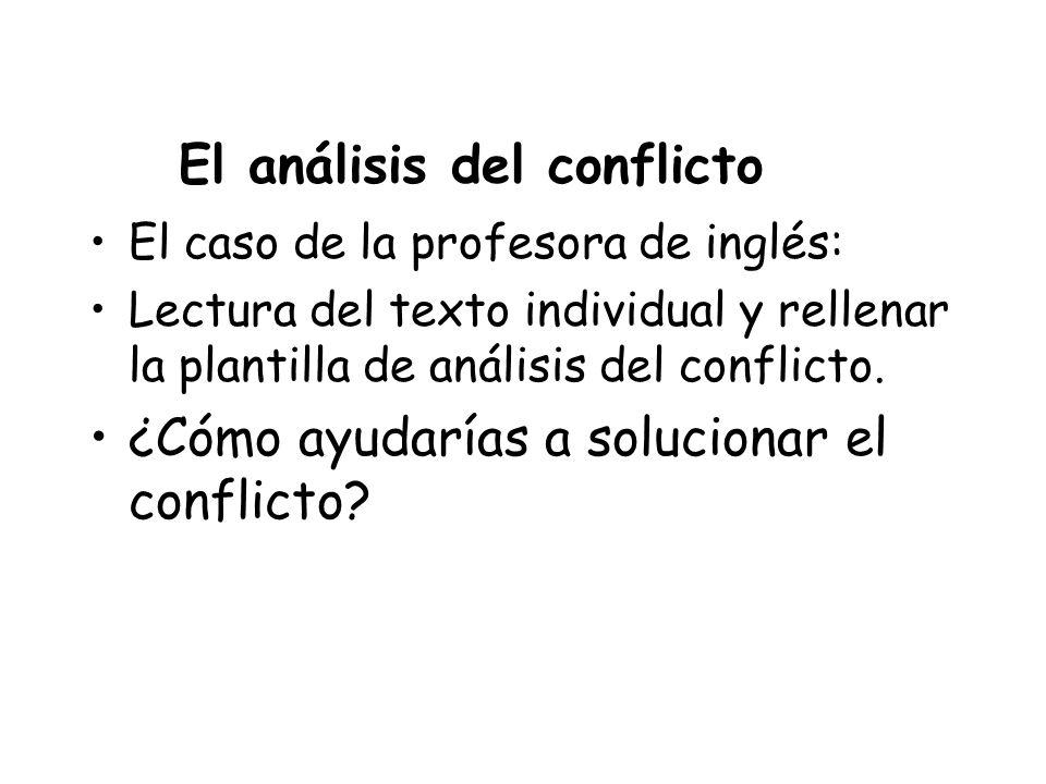El análisis del conflicto El caso de la profesora de inglés: Lectura del texto individual y rellenar la plantilla de análisis del conflicto. ¿Cómo ayu