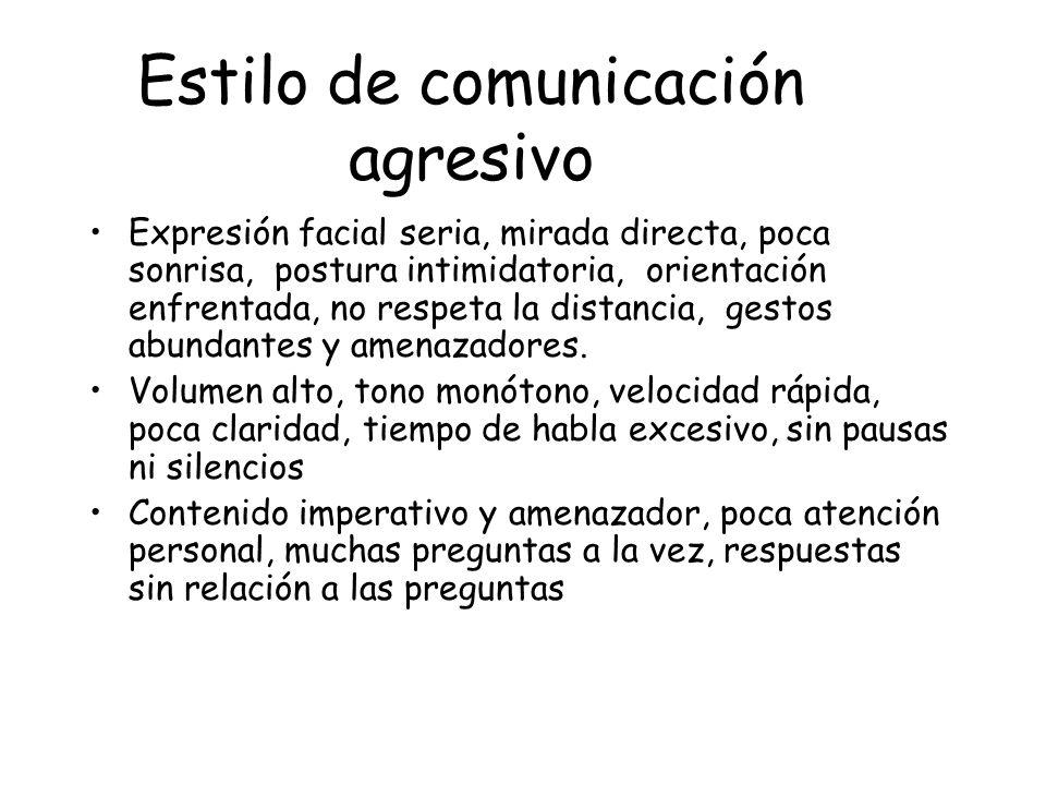 Estilo de comunicación agresivo Expresión facial seria, mirada directa, poca sonrisa, postura intimidatoria, orientación enfrentada, no respeta la dis