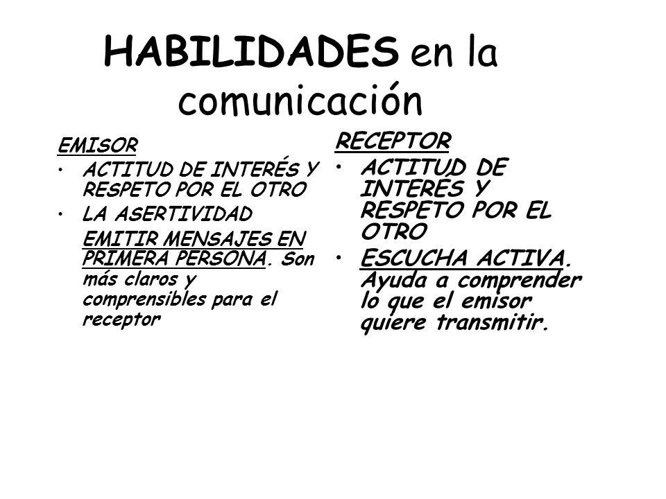 HABILIDADES en la comunicación EMISOR ACTITUD DE INTERÉS Y RESPETO POR EL OTRO LA ASERTIVIDAD EMITIR MENSAJES EN PRIMERA PERSONA. Son más claros y com