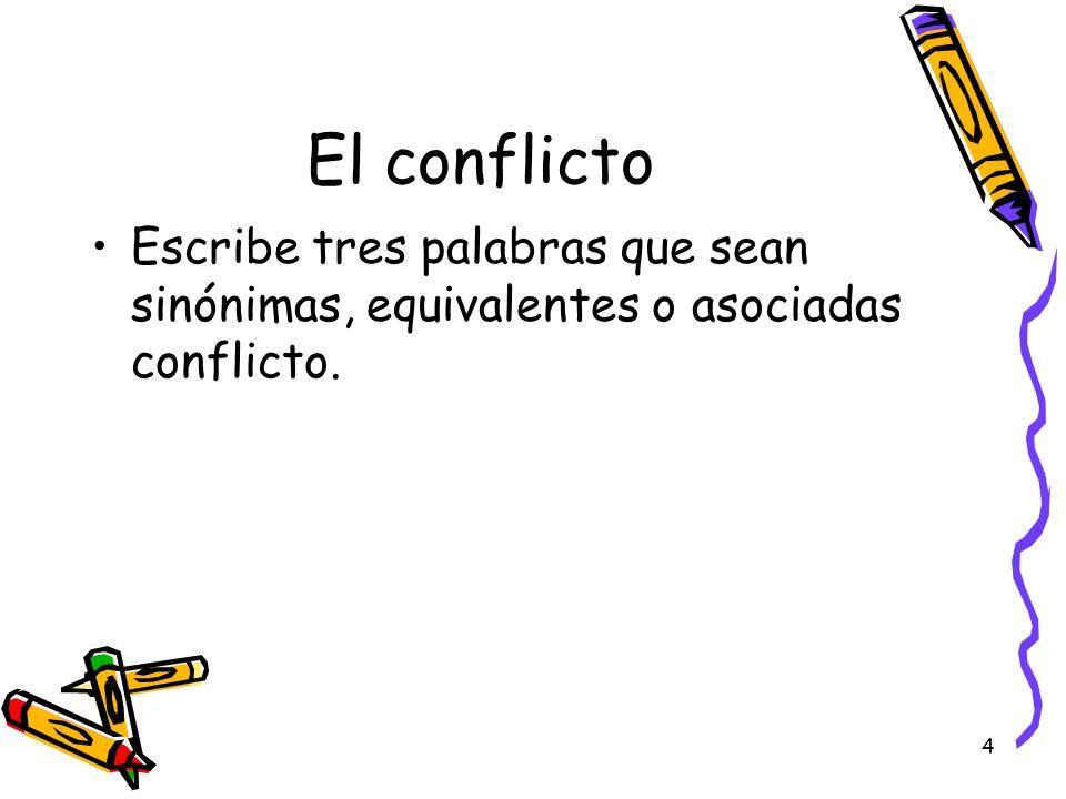 4 El conflicto Escribe tres palabras que sean sinónimas, equivalentes o asociadas conflicto.