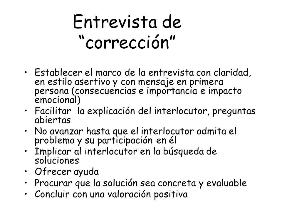 Entrevista de corrección Establecer el marco de la entrevista con claridad, en estilo asertivo y con mensaje en primera persona (consecuencias e impor