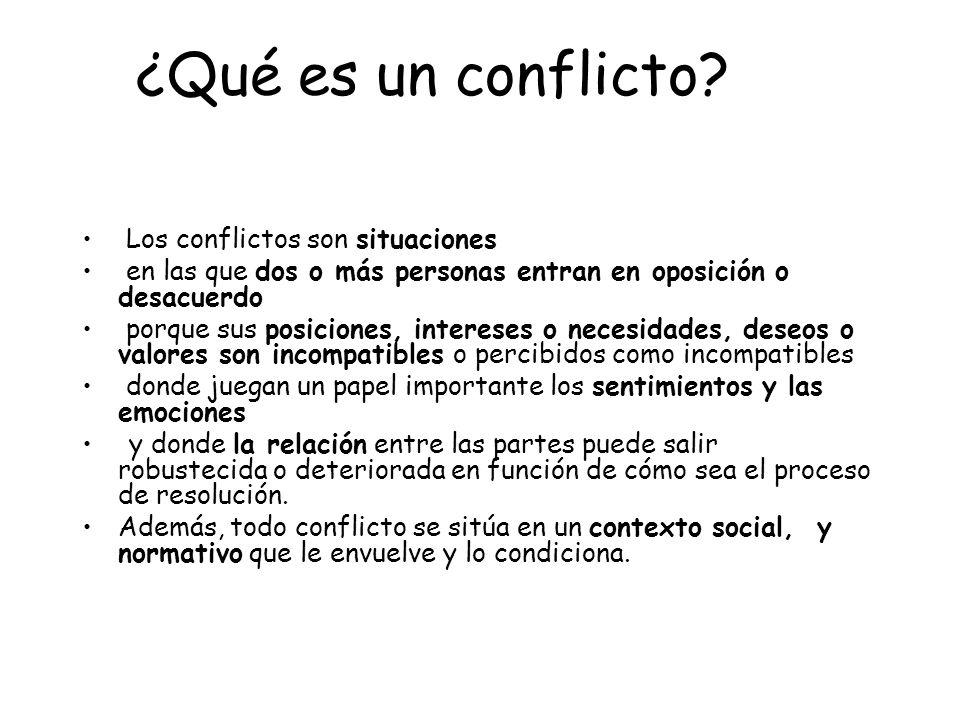 ¿Qué es un conflicto? Los conflictos son situaciones en las que dos o más personas entran en oposición o desacuerdo porque sus posiciones, intereses o