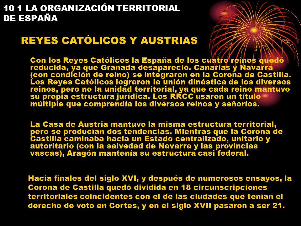 REYES CATÓLICOS Y AUSTRIAS Con los Reyes Católicos la España de los cuatro reinos quedó reducida, ya que Granada desapareció. Canarias y Navarra (con