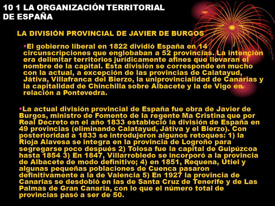 10 1 LA ORGANIZACIÓN TERRITORIAL DE ESPAÑA LA DIVISIÓN PROVINCIAL DE JAVIER DE BURGOS El gobierno liberal en 1822 dividió España en 14 circunscripcion