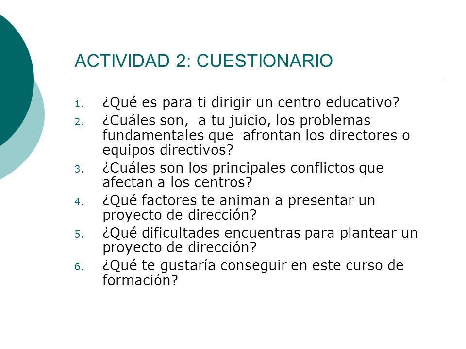 ACTIVIDAD 2: CUESTIONARIO 1. ¿Qué es para ti dirigir un centro educativo? 2. ¿Cuáles son, a tu juicio, los problemas fundamentales que afrontan los di