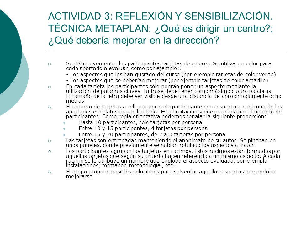 ACTIVIDAD 3: REFLEXIÓN Y SENSIBILIZACIÓN. TÉCNICA METAPLAN: ¿Qué es dirigir un centro?; ¿Qué debería mejorar en la dirección? Se distribuyen entre los