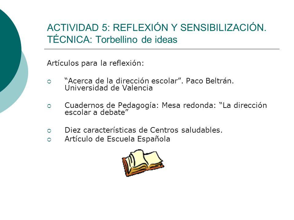 ACTIVIDAD 5: REFLEXIÓN Y SENSIBILIZACIÓN. TÉCNICA: Torbellino de ideas Artículos para la reflexión: Acerca de la dirección escolar. Paco Beltrán. Univ