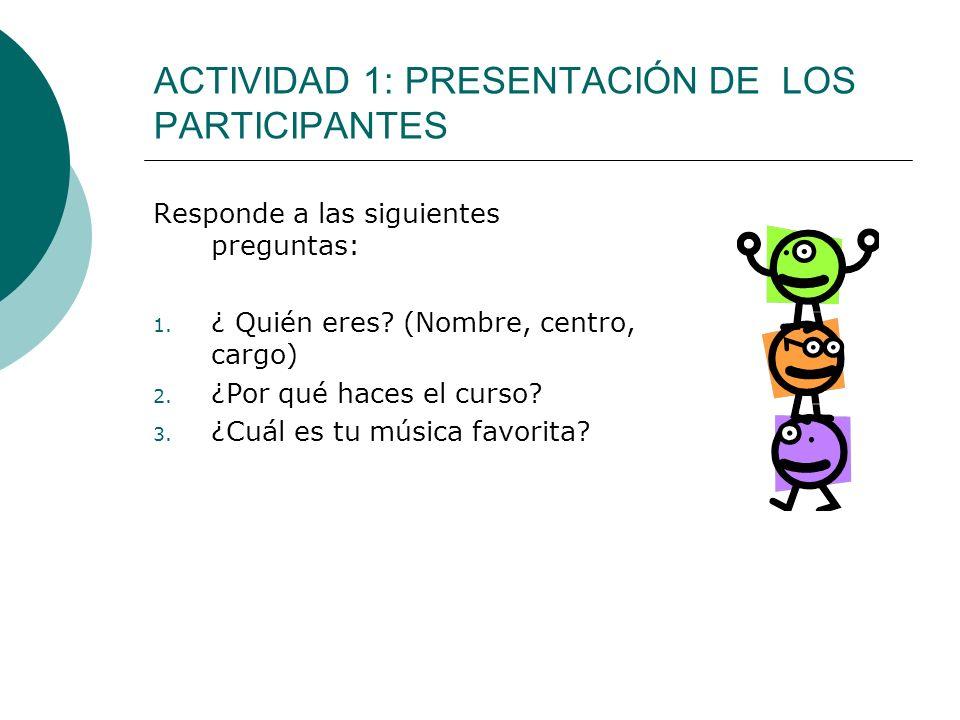 ACTIVIDAD 1: PRESENTACIÓN DE LOS PARTICIPANTES Responde a las siguientes preguntas: 1. ¿ Quién eres? (Nombre, centro, cargo) 2. ¿Por qué haces el curs