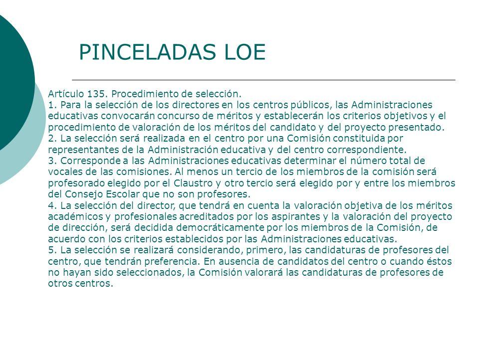 Artículo 135. Procedimiento de selección. 1. Para la selección de los directores en los centros públicos, las Administraciones educativas convocarán c