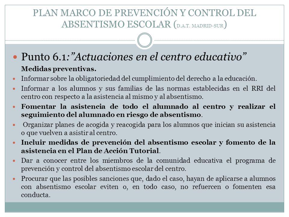 PLAN MARCO DE PREVENCIÓN Y CONTROL DEL ABSENTISMO ESCOLAR ( D.A.T. MADRID-SUR ) Punto 6.1:Actuaciones en el centro educativo Medidas preventivas. Info