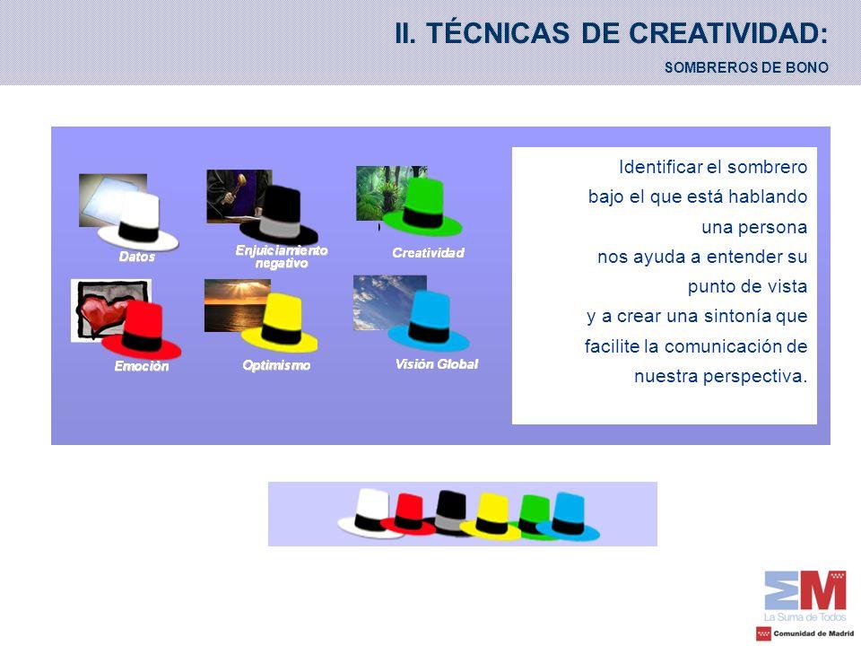 II. TÉCNICAS DE CREATIVIDAD: SOMBREROS DE BONO Identificar el sombrero bajo el que está hablando una persona nos ayuda a entender su punto de vista y