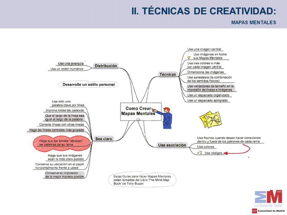 II. TÉCNICAS DE CREATIVIDAD: MAPAS MENTALES