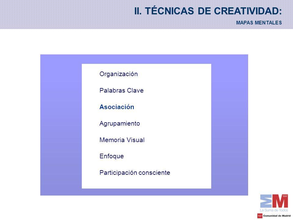 II. TÉCNICAS DE CREATIVIDAD: MAPAS MENTALES Organización Palabras Clave Asociación Agrupamiento Memoria Visual Enfoque Participación consciente