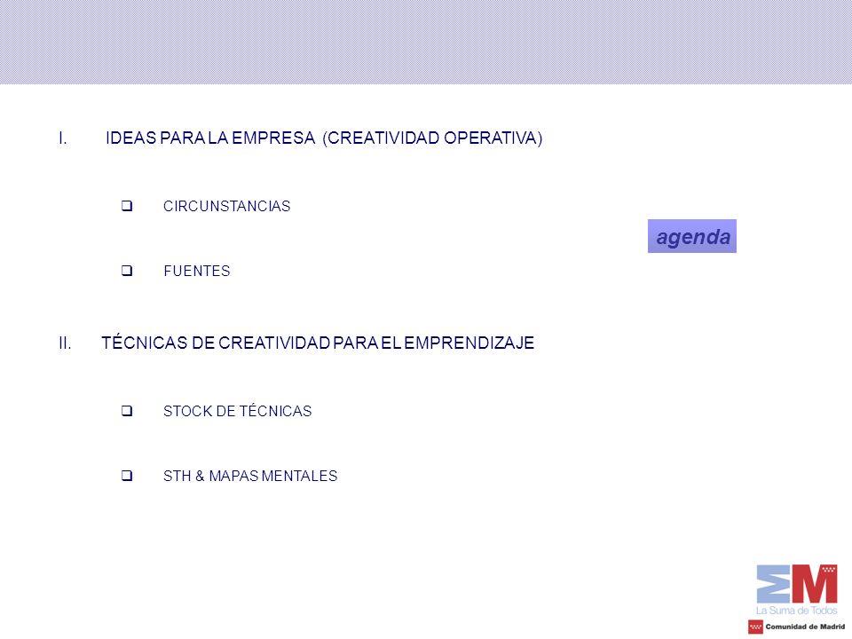 I. IDEAS PARA LA EMPRESA (CREATIVIDAD OPERATIVA) CIRCUNSTANCIAS FUENTES II.TÉCNICAS DE CREATIVIDAD PARA EL EMPRENDIZAJE STOCK DE TÉCNICAS STH & MAPAS