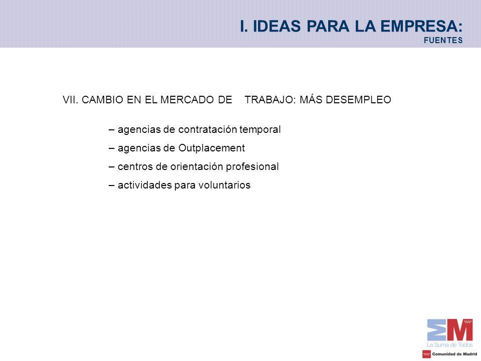 VII. CAMBIO EN EL MERCADO DE TRABAJO: MÁS DESEMPLEO – agencias de contratación temporal – agencias de Outplacement – centros de orientación profesiona