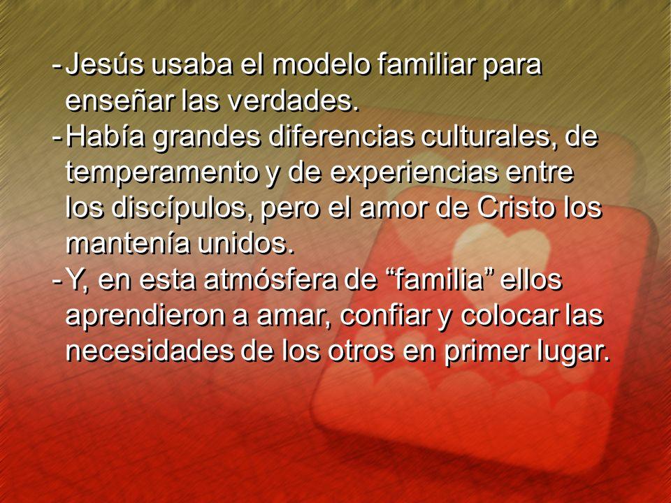 -Jesús usaba el modelo familiar para enseñar las verdades. -Había grandes diferencias culturales, de temperamento y de experiencias entre los discípul